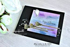 Watercolor Halloween card created by Jenny Hall at www.jennyhalldesign.com for #cardmaking #cardmaker #hobbies #artsandcrafts #papercrafts #maker #lifestyle #watercoloring #art #halloween #halloweencraft #diyhalloween #jennyhall #jennyhalldesign #jennystampsup #stamping #stampinup #videotutorial #youtuber #cauldronbubble