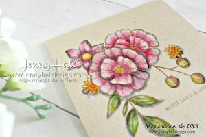 September Be Inspired blog hop with #coloring at www.jennyhalldesign.com for #fallingflowers #watercolorpencils #sympathycard #diy #artsandcrafts #coloronkraft #crumbcakesu #videotutorial #youtuber #craftyyoutube #jennyhall #jennyhalldesign #jennystampsup #stamping #stampinup #cardmaking #handmadecard #adultcoloring #christiancrafts #craftsforkids #papercrafts #beinspireddesignteam