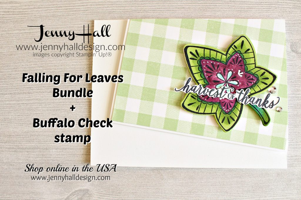 Buffalo Check card created by Jenny Hall at www.jennyhalldesign.com for #buffalocheck #fallingforleaves #detailedleavesframelits #stampinblends #copicmarkers #colorthrowdown #sundaystamps #jennyhall #jennyhalldesign #jennystampsup #cardmaking #cardmaker #diy #stamping #stampinup #2018holidaycatalog #papercrafts #lifestyle #maker #summerleaves #masculinecard #youtuber #craftyyoutube #artsandcrafts #christiancrafts