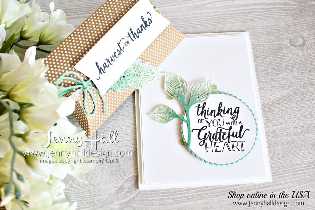 Falling For Leaves ombre card created for OSAT BLog Hop by Jenny Hall at www.jennyhalldesign.com for #cardmaking #cardmaker #artsandcrafts #fallingforleaves #detailedleavesthinlits #stampinblendsmarkers #thanksgiving #stamping #stampinup #jennyhall #jennyhalldesign #jennystampsup #diy #ombre #coloring #papercrafts