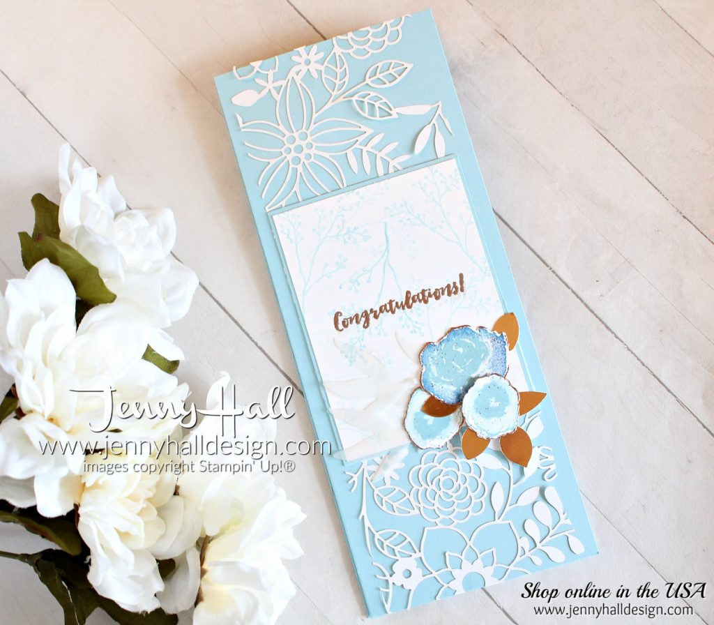 Tri Fold Card created by Jenny Hall at www.jennyhalldesigns.com for #cardmaking #cardmaker #handmadecard #stamping #stampinup #trifoldcard #handmadecards #diy #papercrafts #videotutorial #cardmakingvideo #youtuber #craftyyoutube #jennyhall #jennyhalldesign #jennystampsup #lifestyle #firstfrost #fancyfoldcard