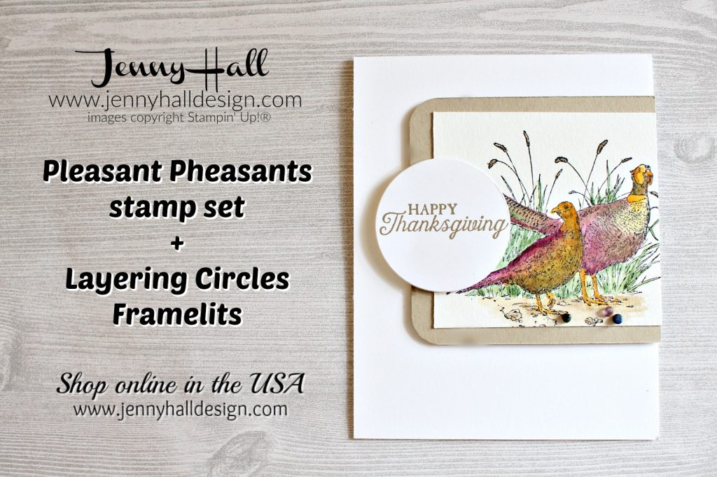 Pleasant Pheasants watercolor card created by Jenny Hall at www.jennyhalldesign.com for #pleasantpheasants #watercoloring #jennyhall #jennyhalldesign #jennystampsup #thanksgivingcard #thanksgivingdiy #cardmaking #stamping #stampinup #papercrafts #artsandcrafts #diy #lifestyle #youtuber