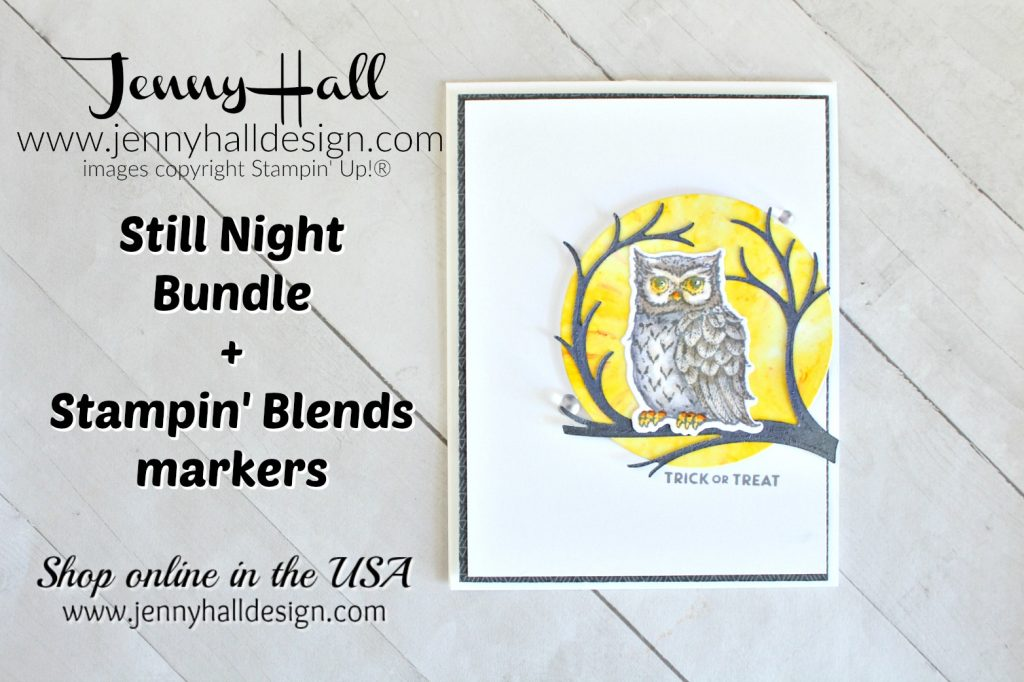 September Stampin Dreams Blog Hop card created by Jenny Hall at www.jennyhalldesign.com for #cardmaking #handmadecard #jennyhall #jennyhalldesign #jennystampsup #artsandcrafts #hobbies #diy #stillnightstampinup #nightowlthinlits #glossywhitepaper #halloweencraft