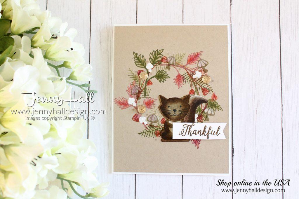 Autumn wreath card by Jenny Hall at www.jennyhalldesign.com for #cardmaking #handmadecard #wreathdesign #stampedsquirrel #jennyhall #jennyhalldesign #jennystampsup #sdbh #stampindreamsbloghop #foxyfriends #foxbuilderpunch #fallingforleaves