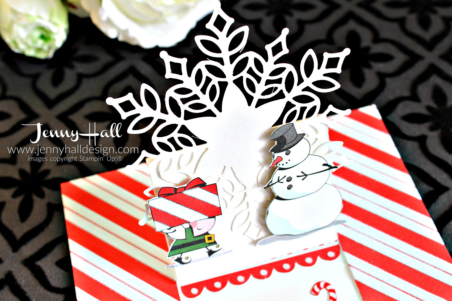 Signs of Santa easel card by www.jennyhalldesign.com #jennyhall #jennyhalldesign #jennystampsup #stampinup #stamping #christmascard #diychristmas #easelcard #addinktivedesigns #signsofsanta #santasworkshopdsp #snowflakeshowcase #snowfallthinlits #papercraft #artsandcrafts #freeartlesson #stepbystepinstructions #buyonline #design #snowflake #cardmaking #crafty #beinspireddesignteam