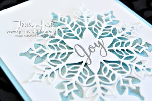 Sparkling Snowflake www.jennyhalldesign.com #snowisglistening #snowflakeshowcase #snowfallthinlits #cascards #shimmerpaint #spongedauber #jennyhall #jennyhalldesign #jennystampsup #cardmaking #stampinup #youtuber #videotutorial #papercraft #christmascard #diychristmas #artsandcrafts #snowflake