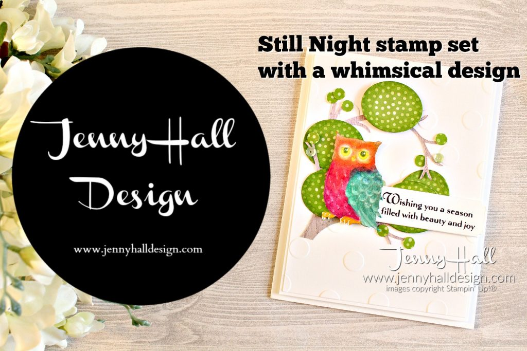 Still Night cartoon colored card by www.jennyhalldesign.com for #stampinup #stamping #stillnightstamp #owlstamp #cartooncoloring #trollstheme #2018incolorsdsp #stampiblends #polkadotsbasictief #embossingfolder #wwyschallenges #jennyhall #jennyhalldesign #jennystampsup #papercraft #artsandcrafts #kidscrafts #craftingforkids #cartooncoloring #handmadecard #cardmaking