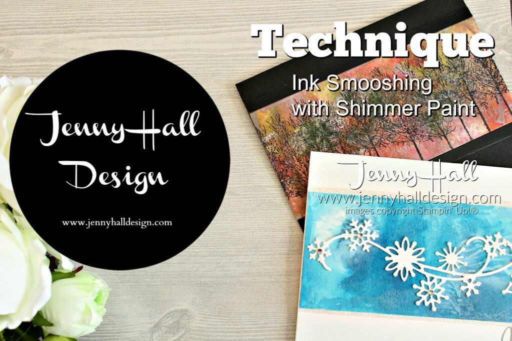 Shimmer Paint Technique | with Video www.jennyhalldesign.com #cardmaking #handmadecard #winterwoods #inksmooshing #watercolorsmooshing #cardmakingtechnique #stazoninkpad #blackfoilsheets #artsandcrafts #nosentiment #christiancrafts #craftsforkids #papercraft #videotutorial #jennyhall #jennystampsup #jennyhalldesign #stamping #stampinup #youtuber #fallcrafting