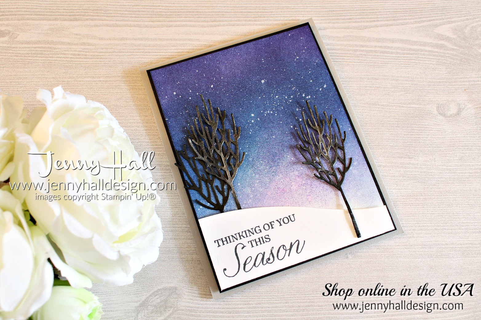 Guest Designer for Crazy Crafters Blog Hop created by www.jennyhalldesign.com for #cardmaking #handmadecard #inkblending #spongebrayer #winterskytechnique #twilight #winterwoods #inthewoodsthinlits #crazycraftersbloghop #guestdesigner #painting #watercoloring #youtuber #videotutorial #jennyhall #jennyhalldesign #jennystampsup @artsandcrafts #diy #stampinup #stamping #rubberstamp #freeartclass #learnart