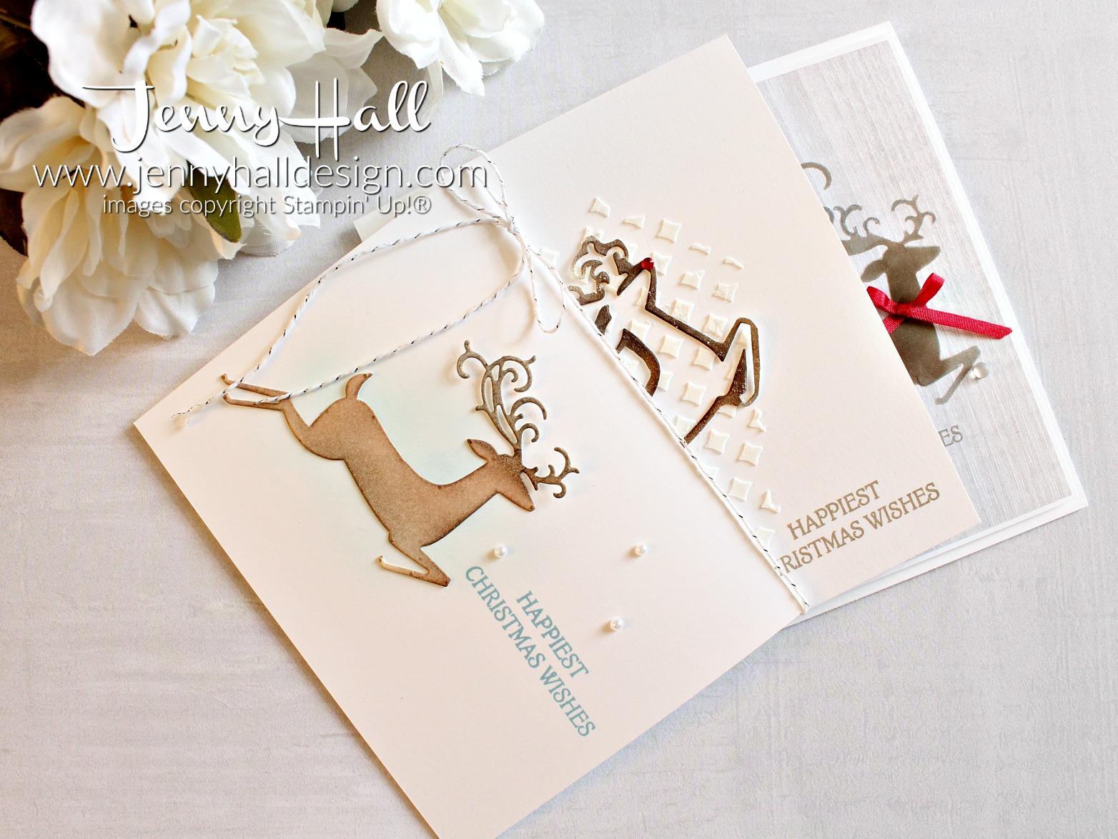 Dashing Deer die cut cards by www.jennyhalldesign.com #dashingdeer #diecutstencil #spongedauber #videotutorial #youtuber #crafty #artsandcrafts #stampinup #jennyhall #jennyhalldesign #jennystampsup #papercraft #ckdt #creatingkindnessdesignteam #cascards #cleanandsimple #countrychic #masculinecard #cardmakingdesign #diychristmascard #doityourself #cardmaking #handmadecard