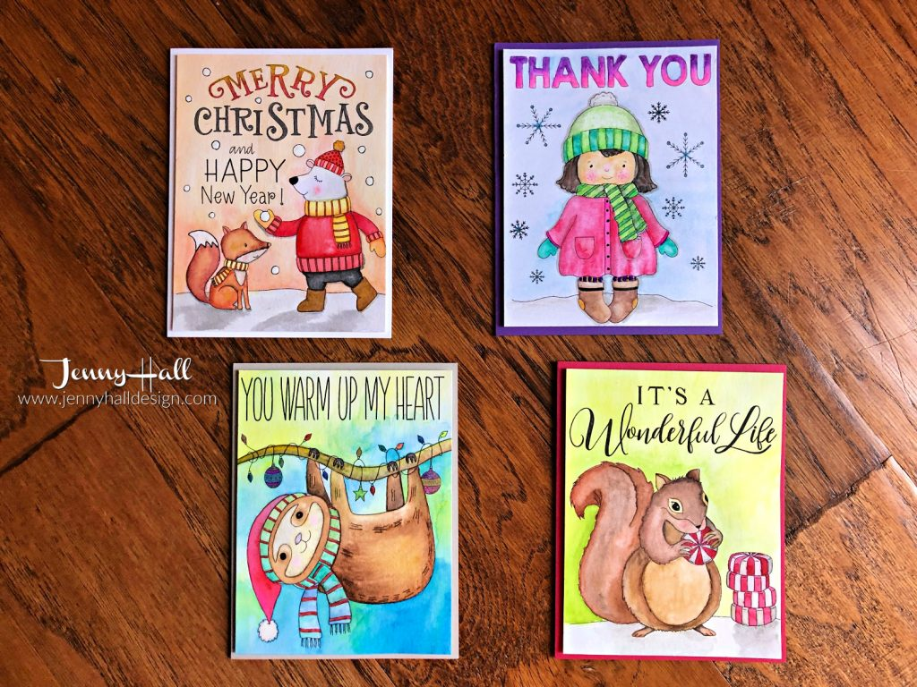 Watercolored Christmas panels at www.jennyhalldesign.com #jennyhall #jennyhalldesign #jennystampsup #freecardmakingtutorial #freeartlesson #youtuber #crafty #papercrafter #stamping #cardmaking #greetingcard #artsandcrafts #christiancrafts #craftsforkids #simonsaysstamp #suzyswatercolorpanels #mijellomissiongoldwatercolors
