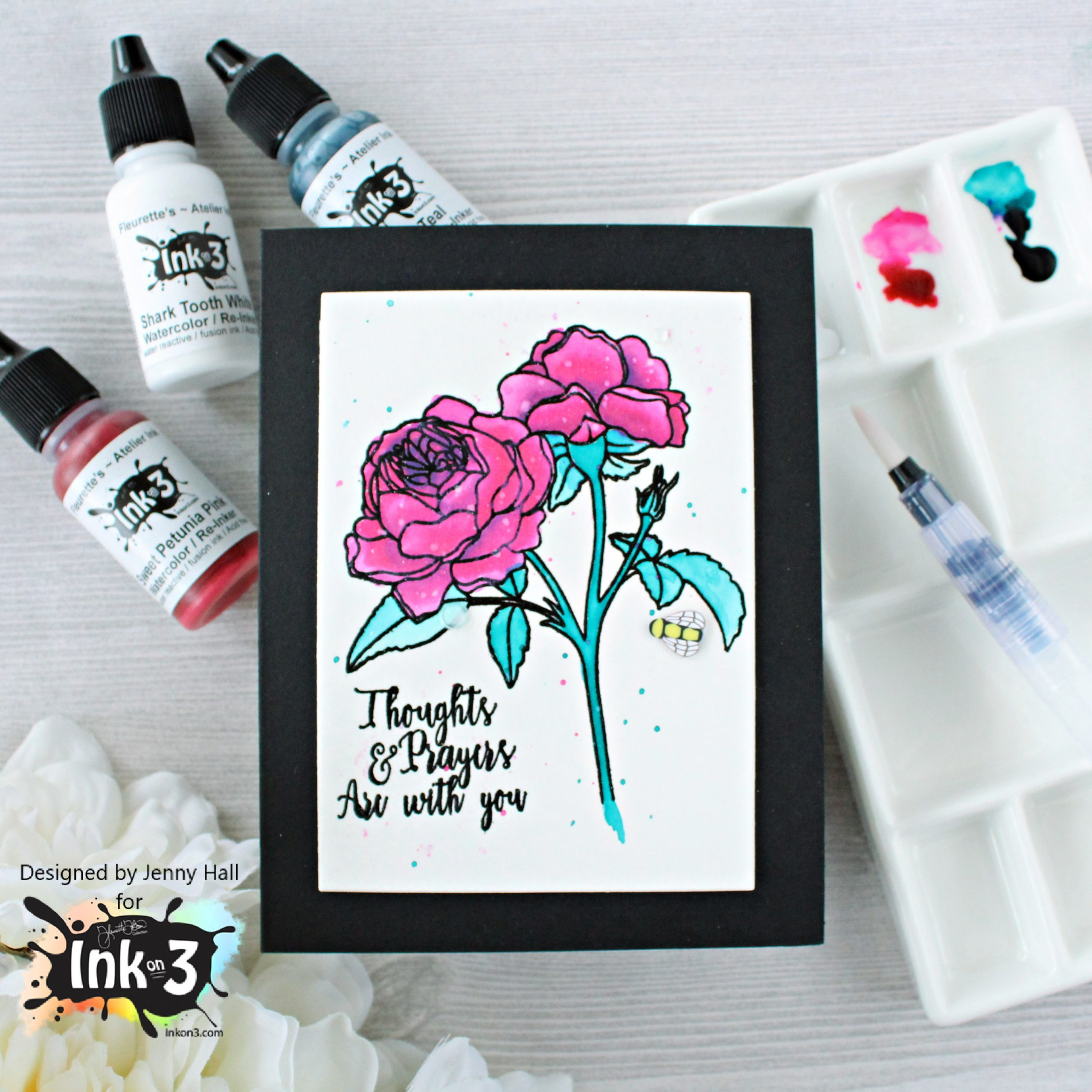 New Inks coming from Ink on 3! at www.jennyhalldesign.com #jennyhall #jennyhalldesign #jennystampsup #freecardmakingtutorial #freeartlesson #youtuber #crafty #papercrafter #stamping #cardmaking #greetingcard #artsandcrafts #christiancrafts #craftsforkids #cardmakingtechnique #atelierinks #inkon3 #newinkcolors #trinityteal #sweetpetuniapink #sharktoothwhite #rosesinbloomstampset