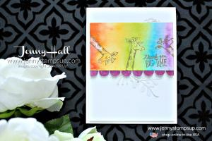 Animal Outing rainbow watercolor card