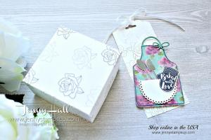 Apron of Love gift tag and box created by Jenny Hall