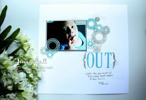 Scrapbook 12x12 page with Delightfully Detailed laser-cut paper and Letters For You stamps
