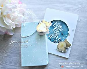 Galaxy watercolor shaker card with matching gift bag